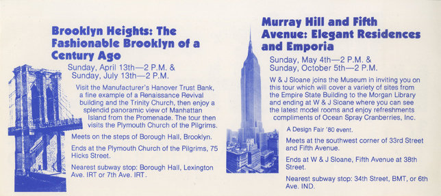 Brochure lists a description for two Walking Tours in blue letters.
