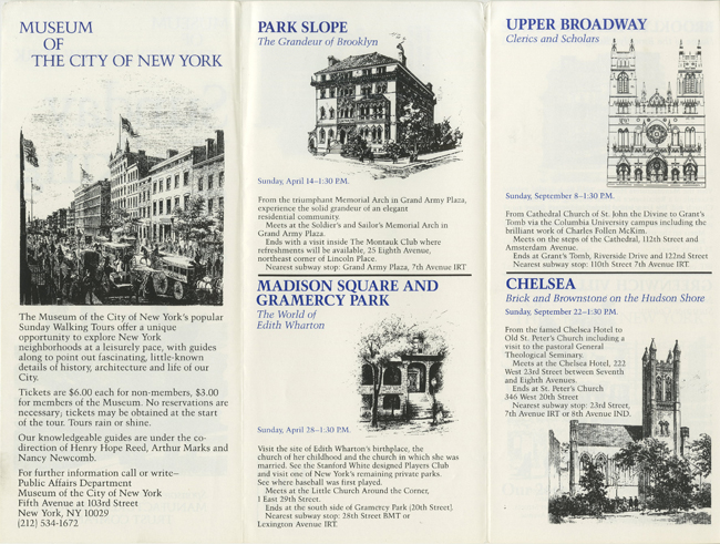 Interior of a Sunday Walking Tours booklet features tour descriptions, informations, and drawings of architectural highlights.