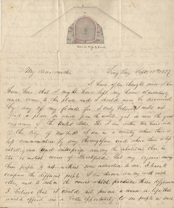 Letter from F. B. Tower to his mother, September 15, 1837, in the Letters Collection. Museum of the City of New York. 2002.33.1.81