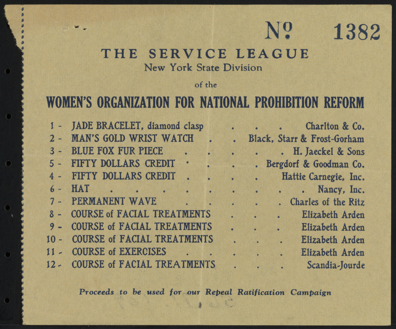 Ticket Stub, The Service League, New York State Division of the Women's Organization for National Prohibition Reform
