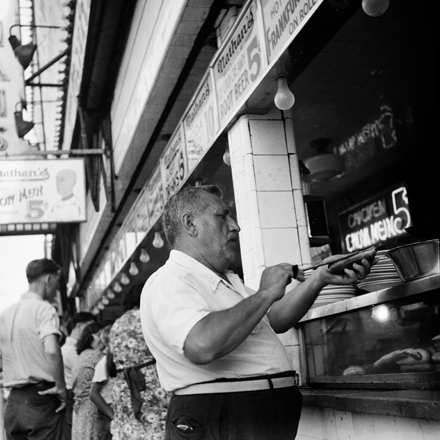 Andrew Herman, Federal Art Project (n.d.). At Nathan's Hot Dog Stand 2, July 1939. Museum of the City of New York. 43.131.5.91