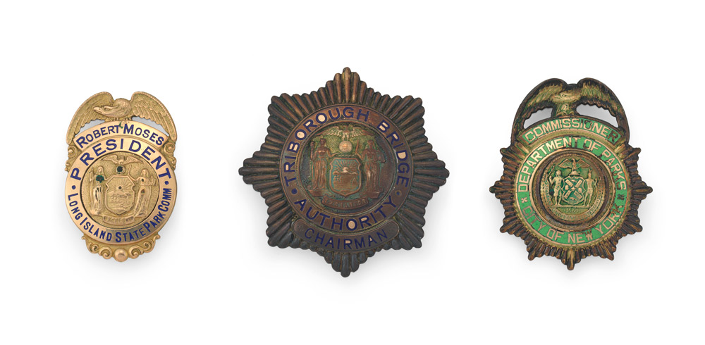 A selection of badges owned by Robert Moses