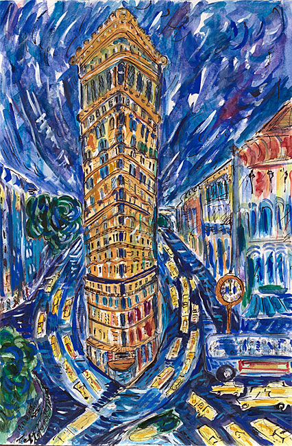 Watercolor by Jessica Daryl Winer of taxicabs driving around the Flatiron Building.