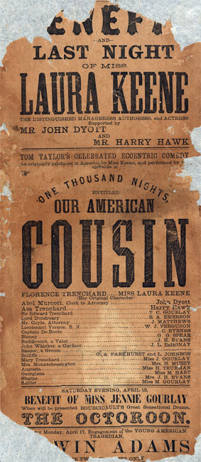 "Broadside announcing performance of ""Our American Cousin"" at Ford's Theatre in Washington, D.C. in 1865."