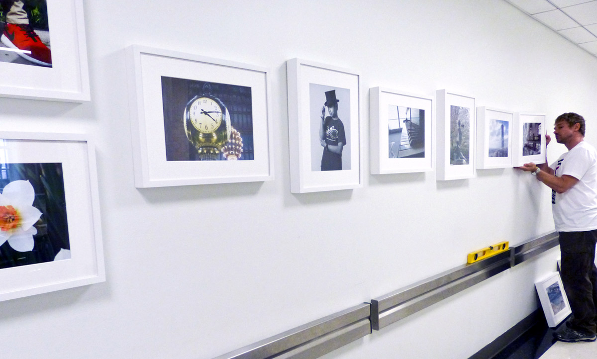 A museum worker installs the photographs from the I Spy workshop on the wall