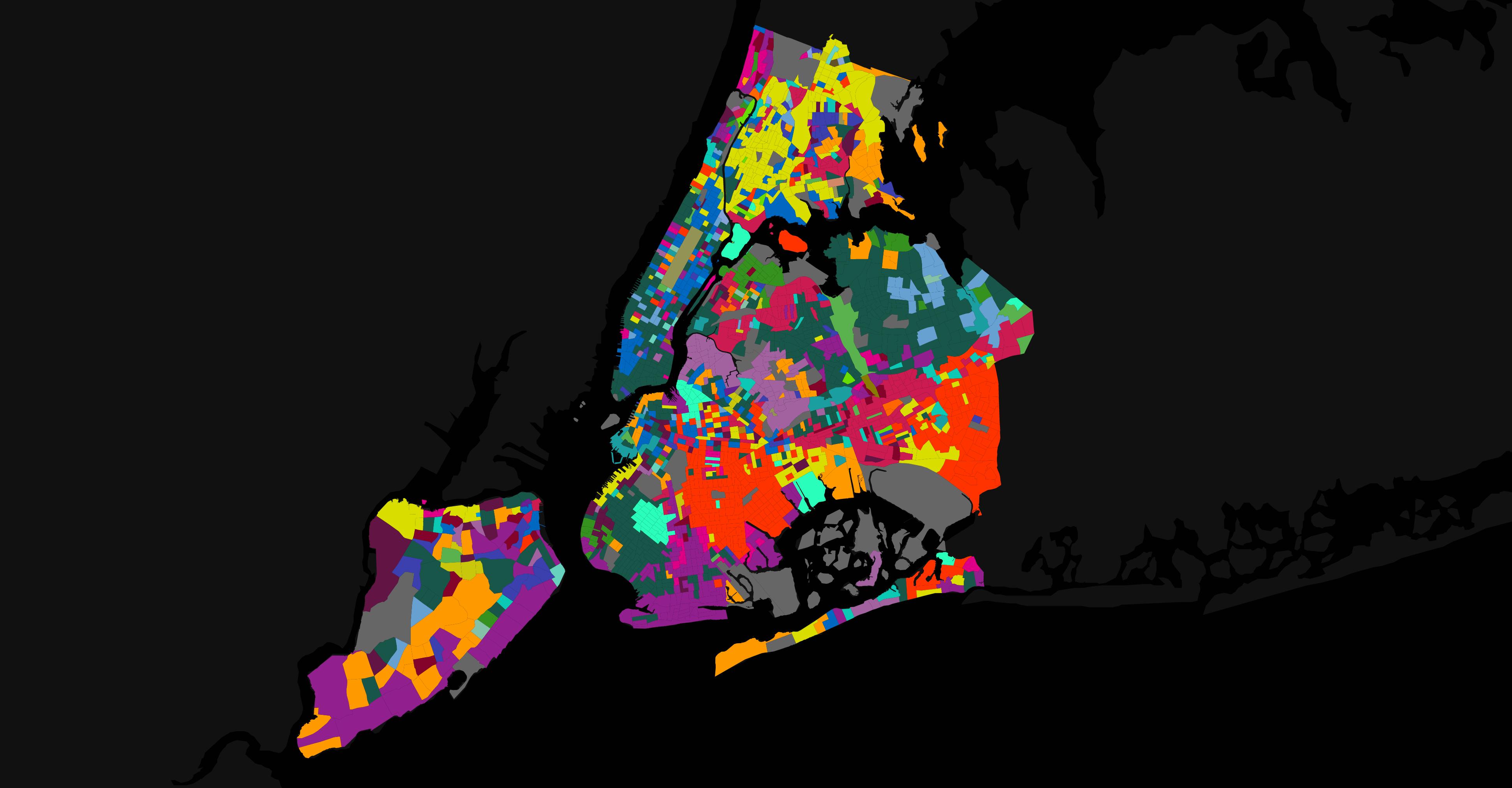 NYCで話されている言語を説明する地図。