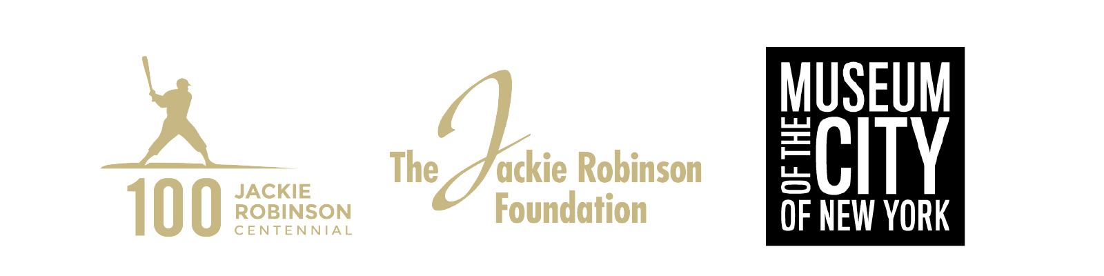 Jackie Robinson Centennial logo, Jackie Robinson Foundation logo, Museum of the City of New York logo