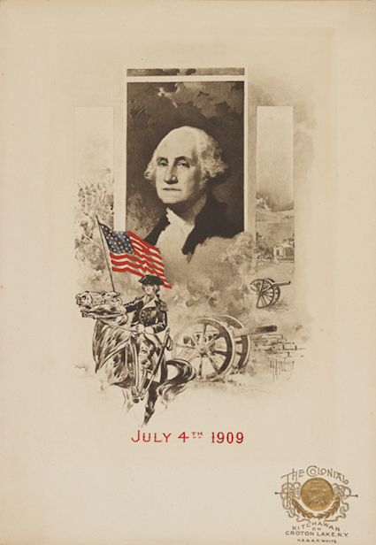 Cover of 1909 menu featuring a black and white portrait of George Washington and drawing of General Washington astride his horse, holding an American flag, with cannons and battlefield in the background.