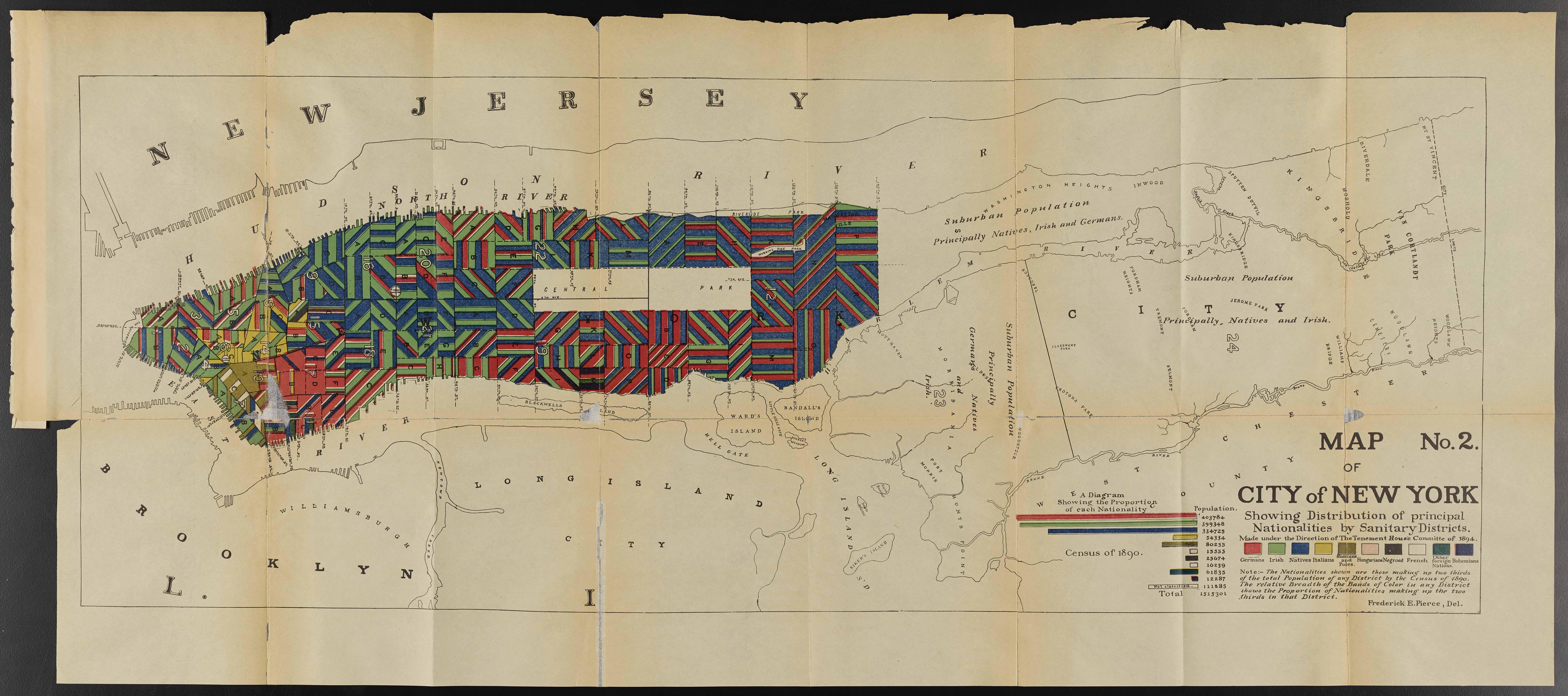 Carte de la ville de New York montrant la répartition des principales nationalités par districts sanitaires.