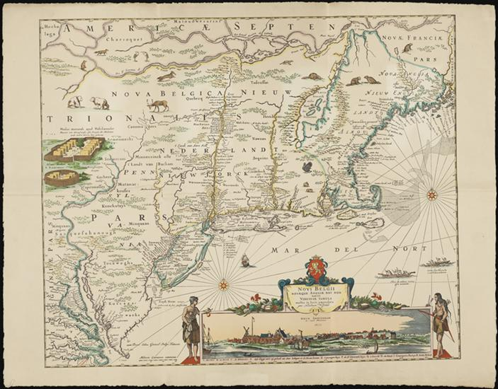 Map of early American, showing the north east with a cartouche depicting New Amsterdam.