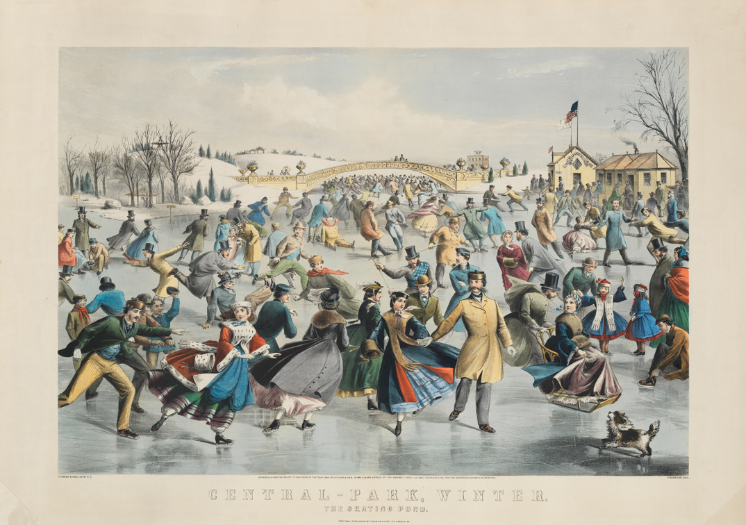 A color lithograph drawing featuring a group of people in mid-nineteenth century clothing skating outdoors in Central Park.
