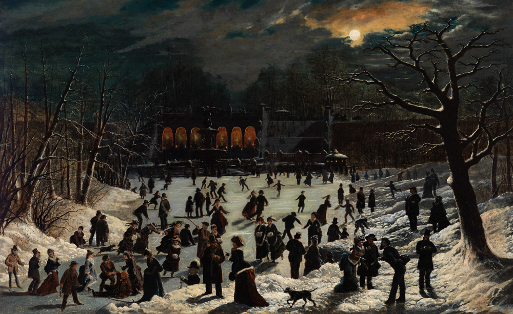 A painting of a group of people skating outdoors in Central Park by moonlight.