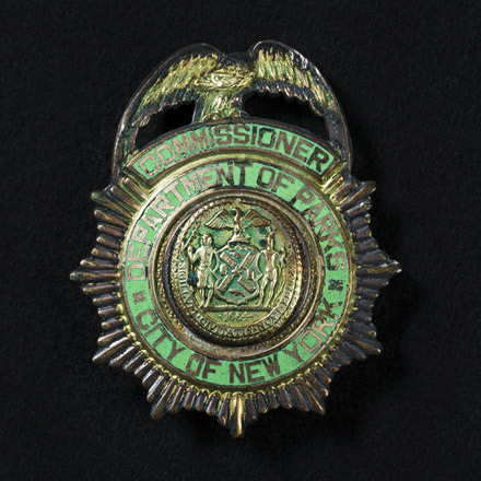 Robert Moses' official badge for the Department of Parks