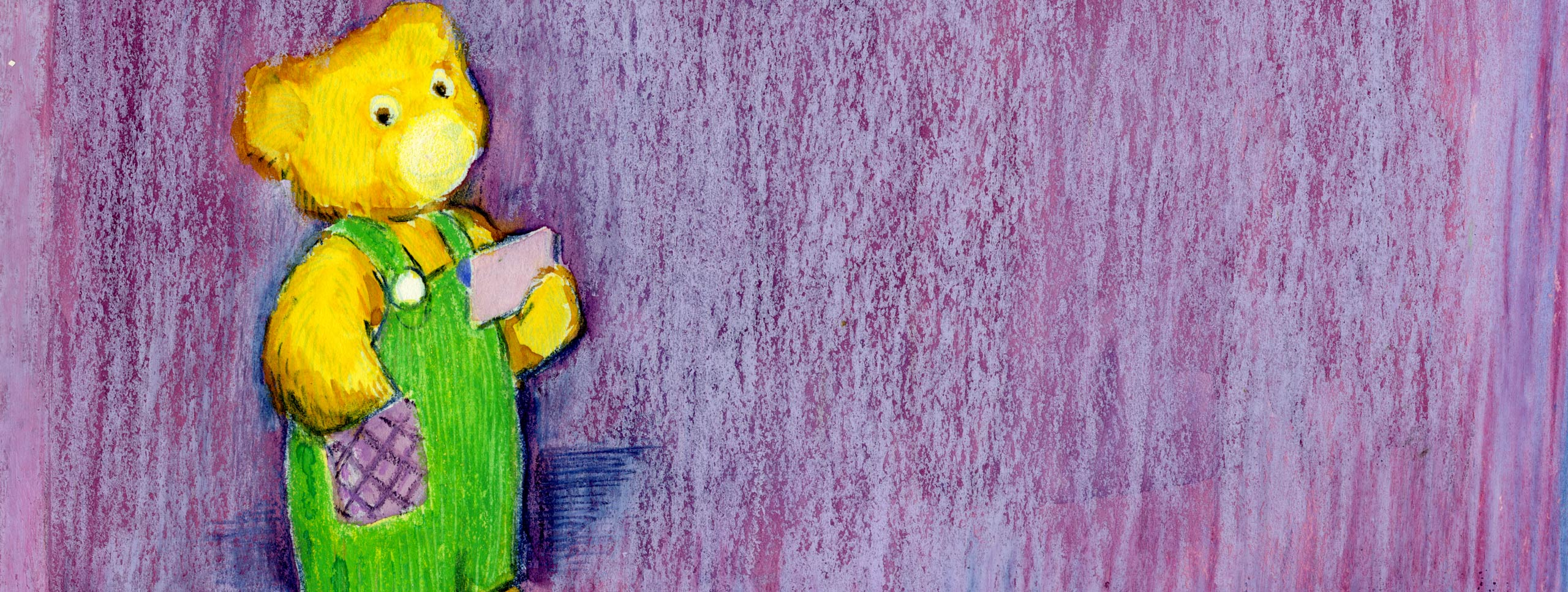 Purple backdrop with a gold teddy bear. The bear is wearing green overalls with a purple pocket and is holding a notecard