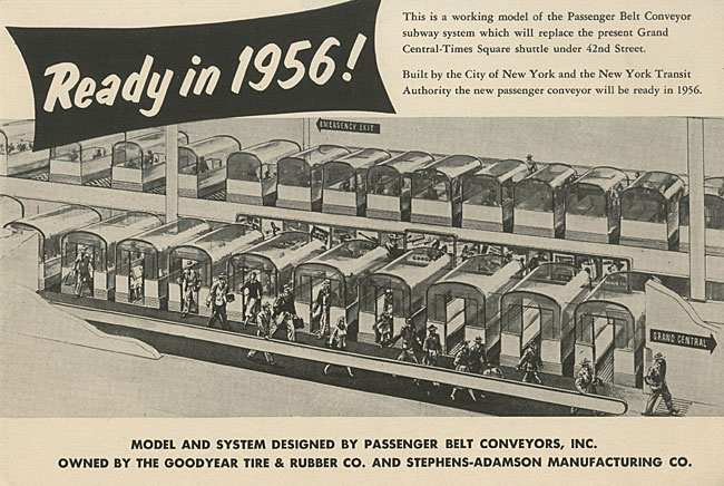 "brochure titled ""Ready in 1956!"" featuring illustration of passenger cars on conveyor belt"