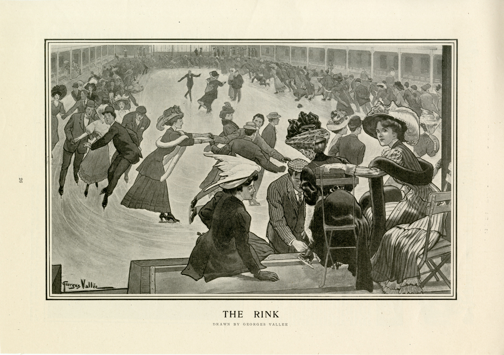 A drawing of a group of people at an indoor ice skating rink.