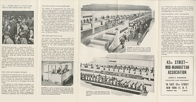 brochure spread featuring text, photo of crowded subway platform, and illustrations of conveyor subway system.