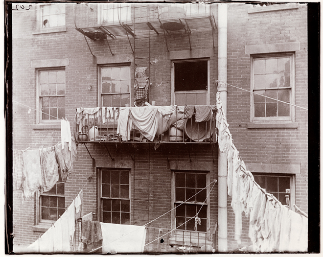 "Chicago Albumen Works Jacob A. (Jacob August) Riis (1849-1914). Typical Tenement Fire escape, serving as an extension of the ""flat""– Allen Street. ca. 1890. Museum of the City of New York. 90.13.4.206"