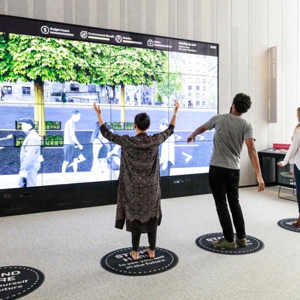 Uma foto tirada por Christiane Patic da parede de criação do museu no Future City Lab.