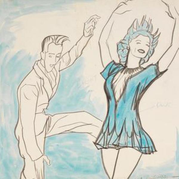 Uma foto do museu de William Auerbach-Levy (1889-1964) de [Skippy Baxter e Eileen Seigh em Howdy, Sr. Ice de 1950].