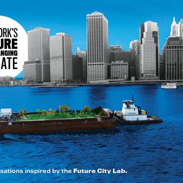 """Imagem da série """"O futuro de Nova York em um clima em mudança"""", mostrando a costa de Nova York e uma barcaça na água abaixo."""