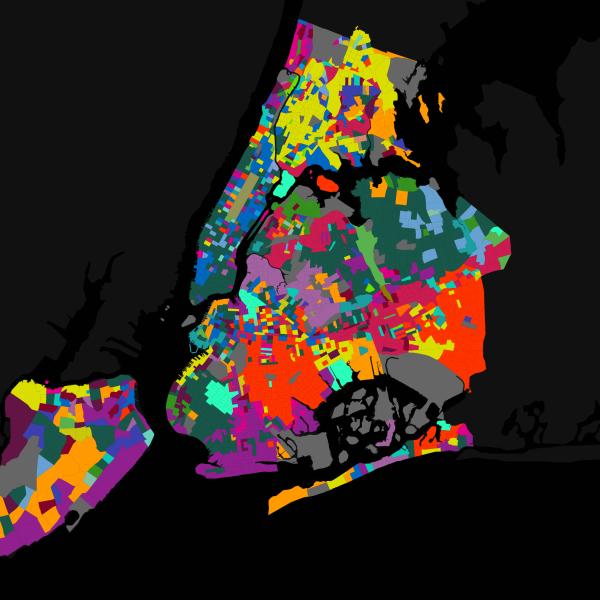 Carte décrivant les langues parlées à New York.