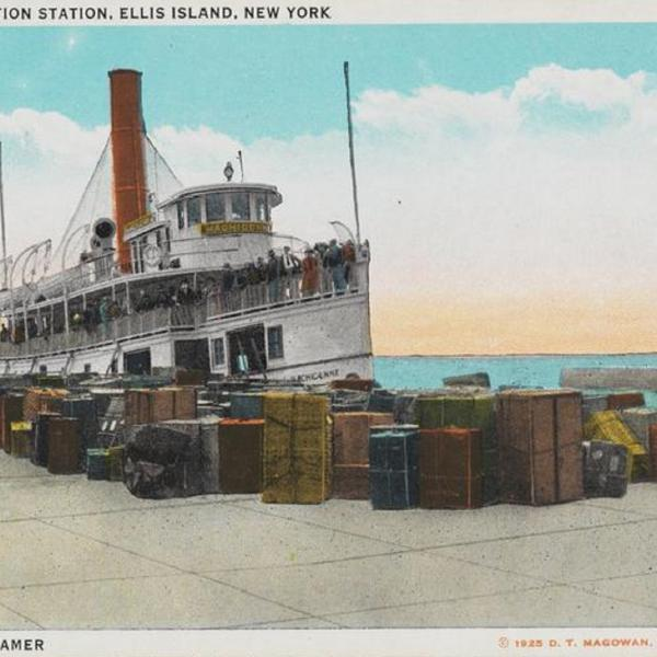 Postcard of U.S. Immigration Station, Ellis Island, New York. Transfer Steamer.