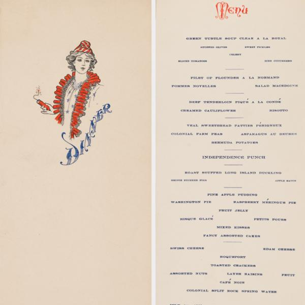 "Printed menu from multi-course July 4, 1905 dinner. Cover, right, features drawing of a woman wearing necklace of firecrackers, white shirt with blue stars, and red and white striped hat, holding a lit firecracker. ""Dinner"" printed in blue ink. ""Menu,"" left, is printed at the top in red ink. Below, each dish is named and printed in blue ink."