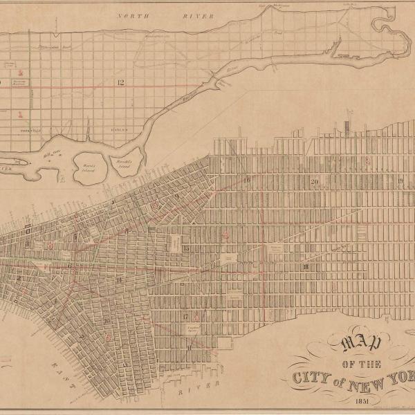 Mapa de planejamento para o sistema de grade da cidade de Nova York. O mapa mostra toda a cidade de Manhattan, com as ruas e os parques rotulados.