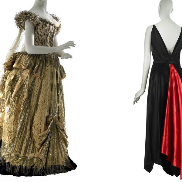 Imagem de dois vestidos de noite, dourados à esquerda e feitos por Maison no valor, preto e vermelho à direita e feitos por Mainbocher.