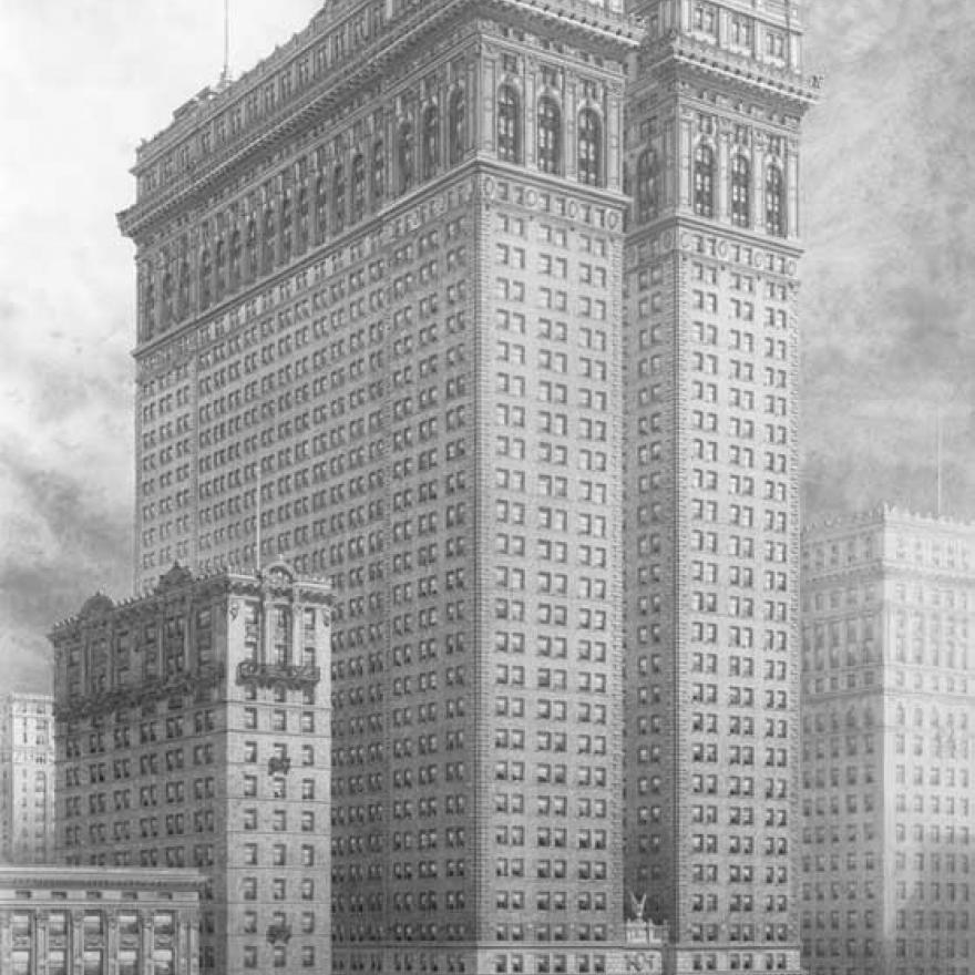 Drawing of a tall building in NYC, surrounded by smaller buildings and people and vehicles on the street