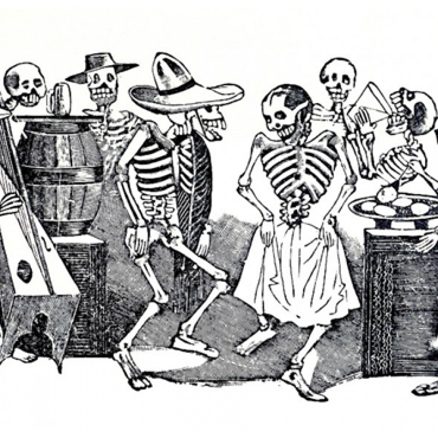 Illustration of a group of skeletons. Some dancing, in the background, others play instruments, drink and eat.