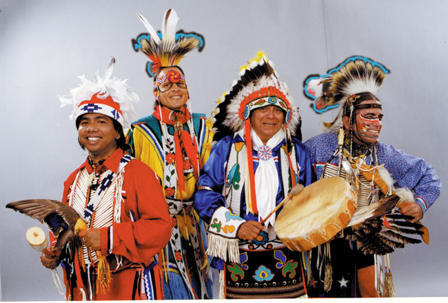 Louis Mofsie, second from right, with dancers from the group Thunderbird American Indian Dancers