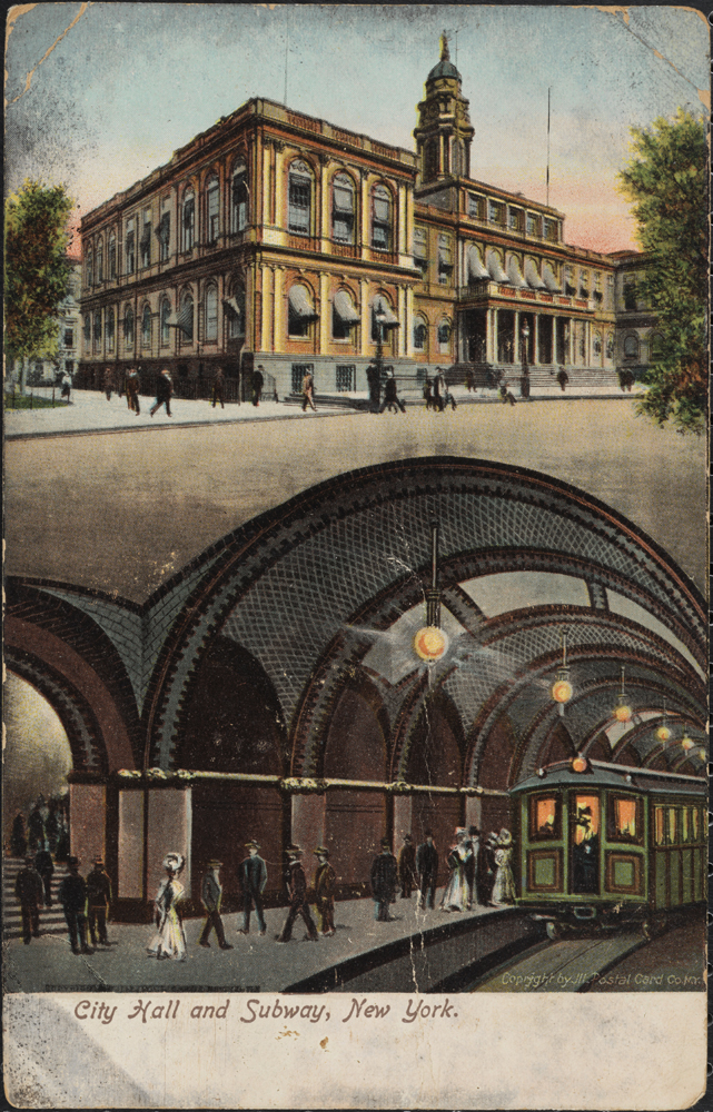 Illustrated Postal Card Co. City Hall and Subway, New York. 1905-1914. Museum of the City of New York. X2011.34.3661