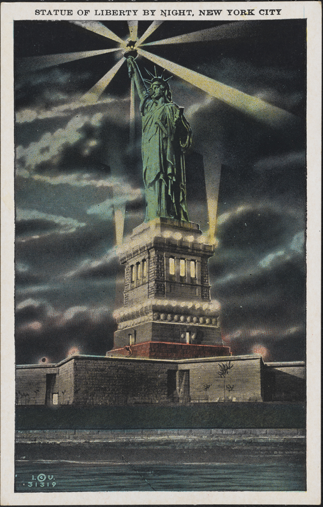 Irving Underhill (d. 1960), Statue of Liberty by Night, New York City, ca. 1930, in the Postcard Collection. Museum of the City of New York. X2011.34.2594