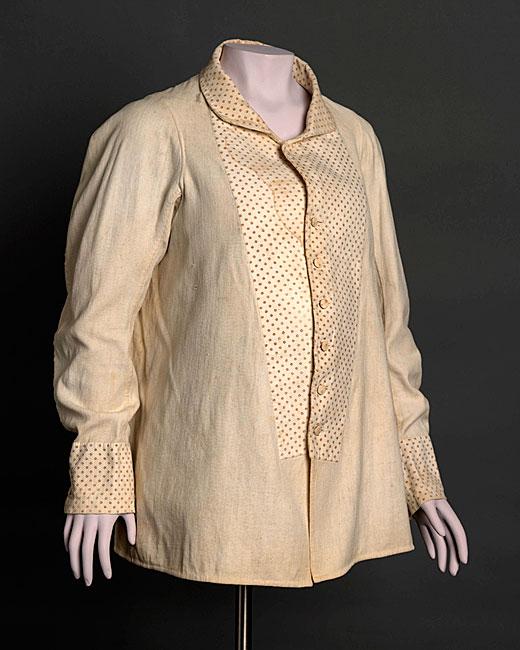 프린트 및 퀼팅 코튼으로 제작 한 임산부 셔츠 허리.