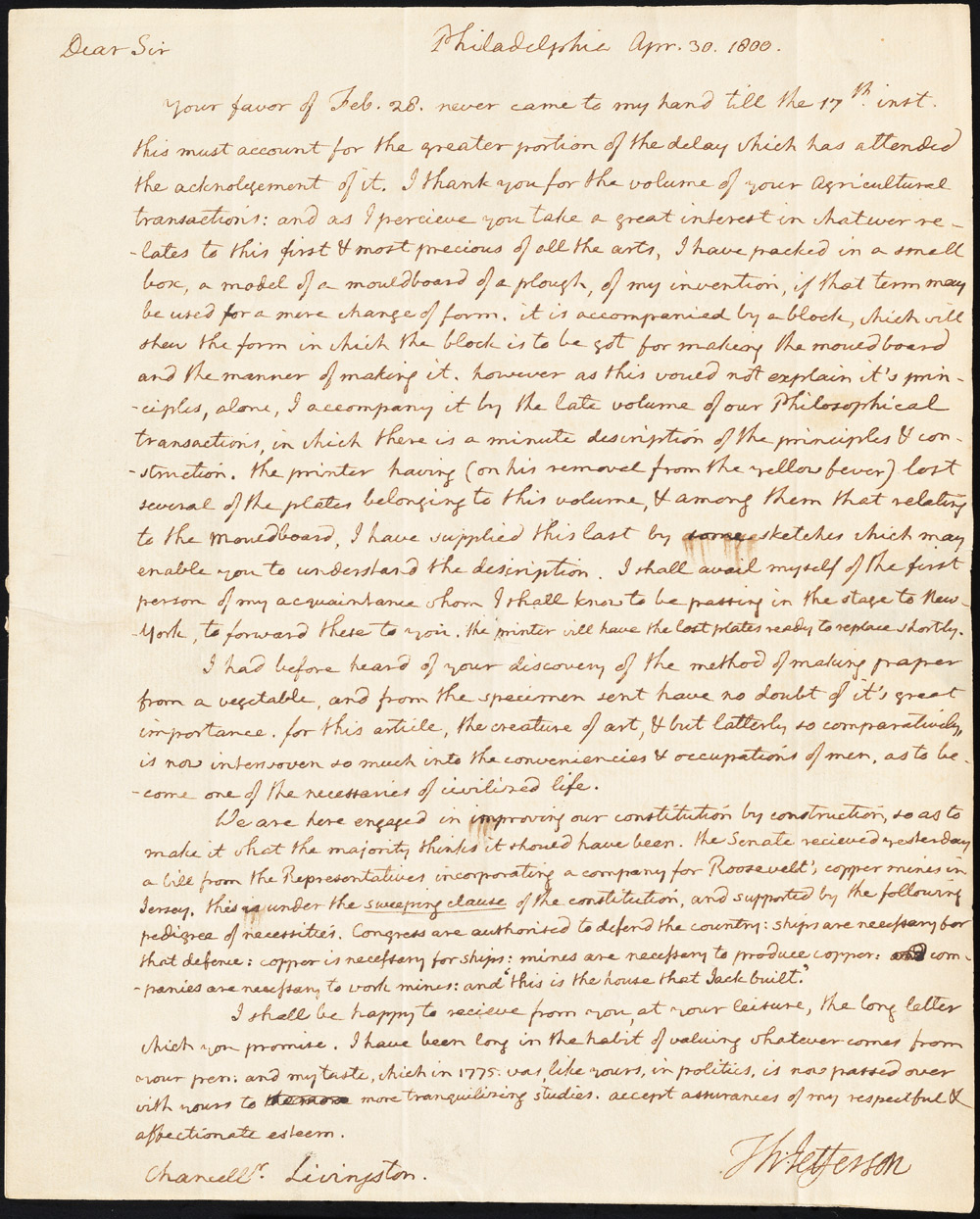 Letter to Chancellor Robert R. Livingston from Thomas Jefferson, April 30, 1800