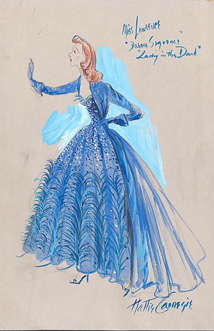 "Gertrude Lawrence가 꿈꾸는 뮤지컬""Lady in the Dark""에서 입었던 드레스의 Hattie Carnegie의 수채화 의상 디자인."