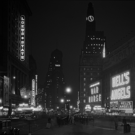 "Samuel Herman Gottscho (1875-1971). New York City, Times Square South from 46th Street. General view of ""Whiteway"" toward Times Building, December 9, 1930. Museum of the City of New York. 88.1.1.1524"