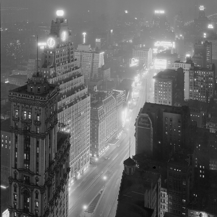 Samuel Herman Gottscho (1875-1971). New York City views. Times Square from 41st Story [of the] Continental Building, at night, February 16, 1932. Museum of the City of New York. 88.1.1.2206