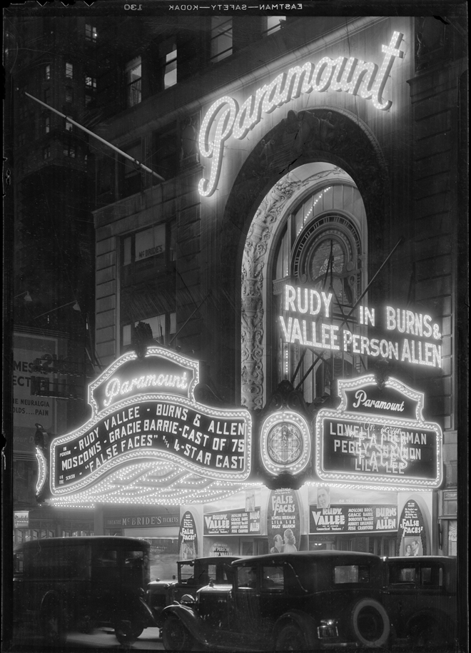 Samuel Herman Gottscho (1875-1971). New York City views. Paramount Theatre at night, November 30, 1932. Museum of the City of New York. 88.1.1.2542