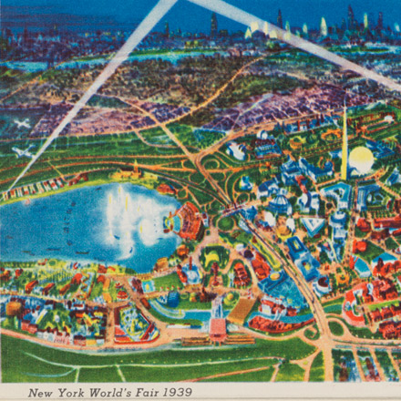 Night Air View of the New York World's Fair 1939 Postcard
