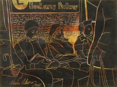 Giz de cera e pintura acrílica de cinco passageiros sentados e em pé no trem L para Rockaway Parkway