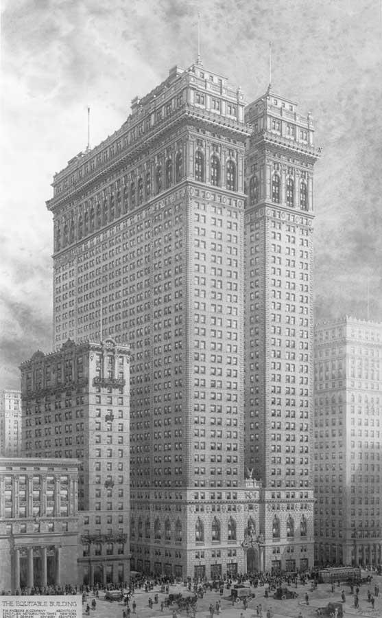 Dibujo de un edificio alto en Nueva York, rodeado de edificios más pequeños y personas y vehículos en la calle