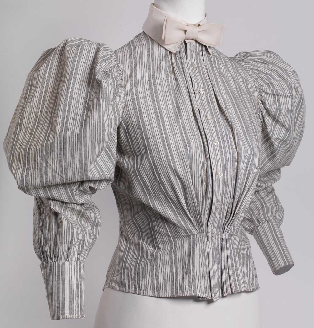 Gray and white striped cotton shirtwaist with linen collar