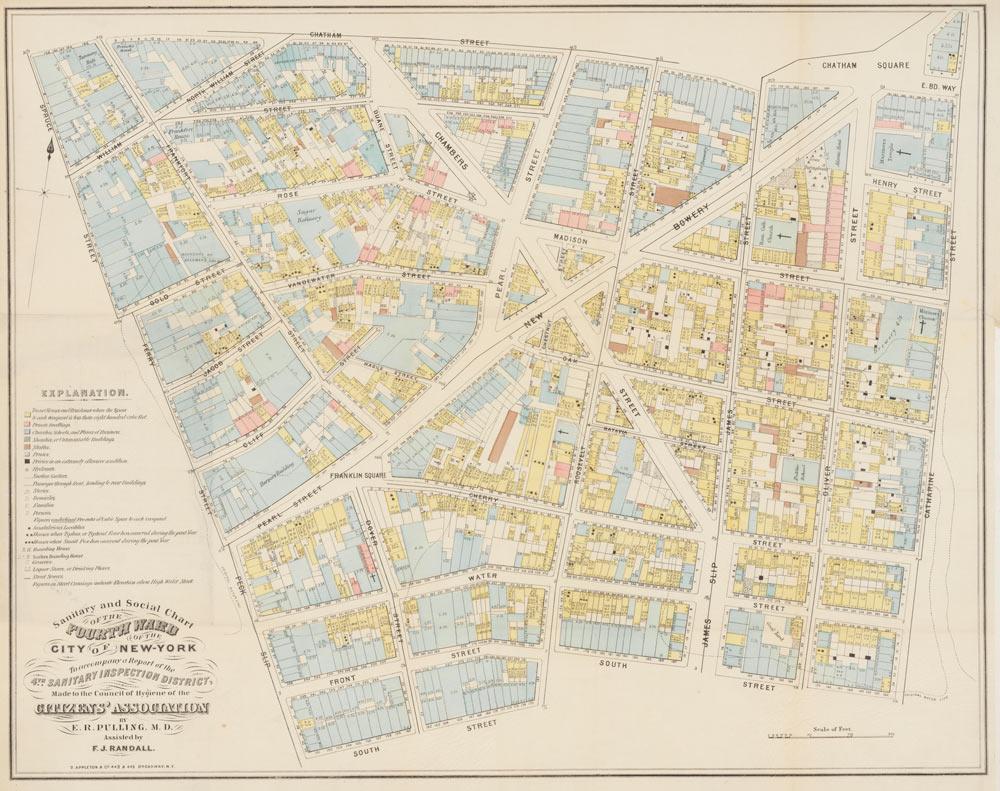 衛生検査に基づいて色分けされたマンハッタン南部の地図