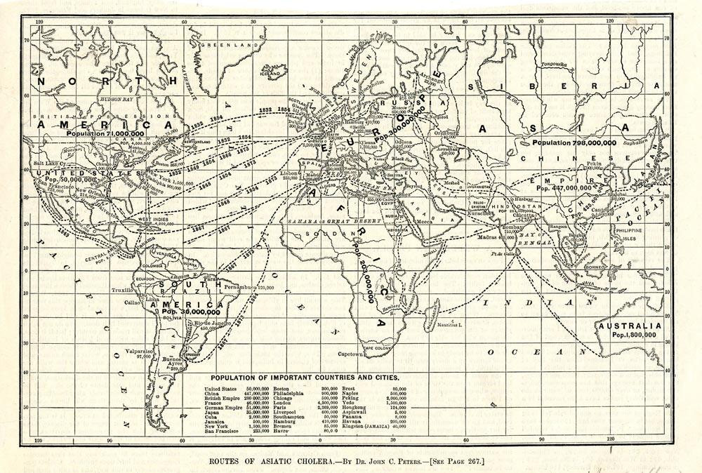 世界の白黒地図、異なる国の間を移動するためのルートを示すパス付き