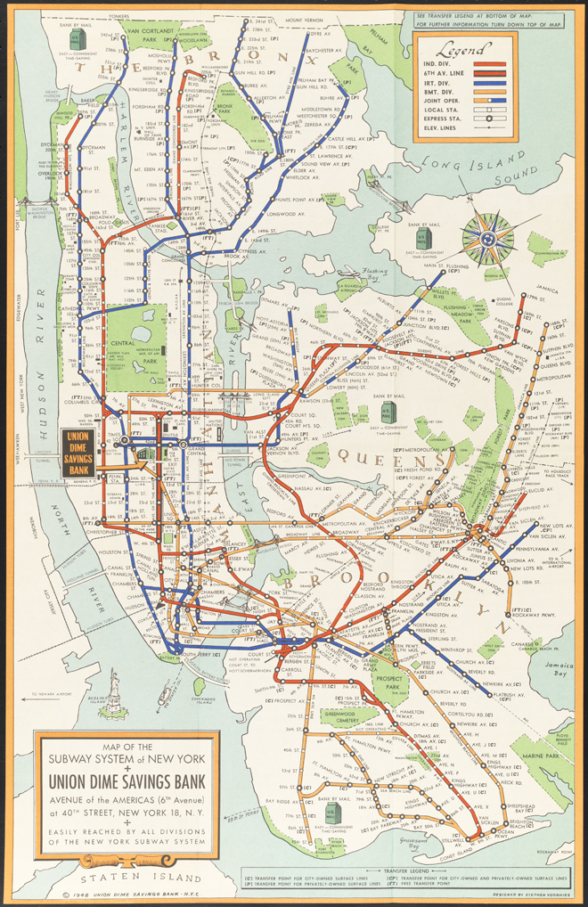 Stephen J. Voorhies and Union Dime Savings Bank. Map of the Subway System of New YorkStephen J. Voorhies and Union Dime Savings Bank. Map of the Subway System of New York, 1948. Museum of the City of New York, 98.52.6
