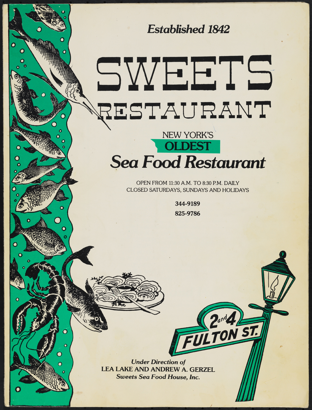 Sweets Restaurant. 1975-1992. Museum of the City of New York. 97.146.343
