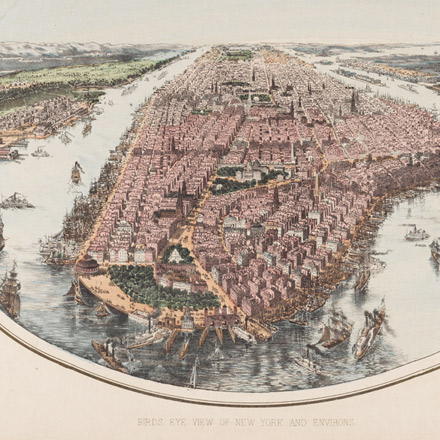 John Bachmann, Birds Eye View of New York and Environs, ca. 1865